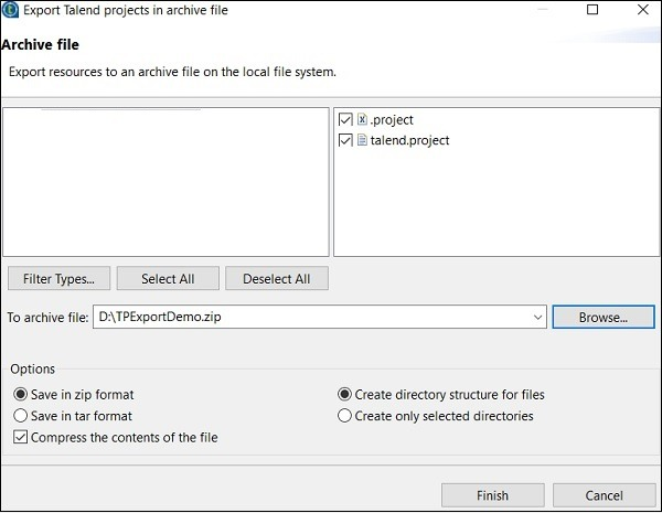 Select the project you want to export and give a path to where it should be exported. Click on Finish.