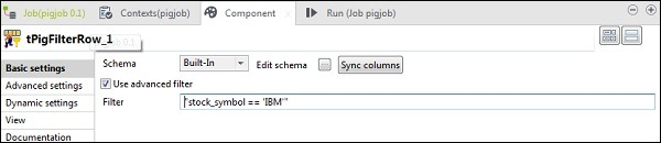 """In tPigFilterRow, select the """"Use advanced filter"""" option and put """"stock_symbol = = 'IBM'"""" in the Filter option."""