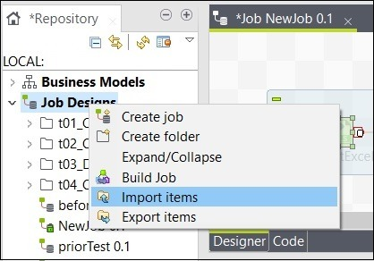 Job Designs and click on Import items