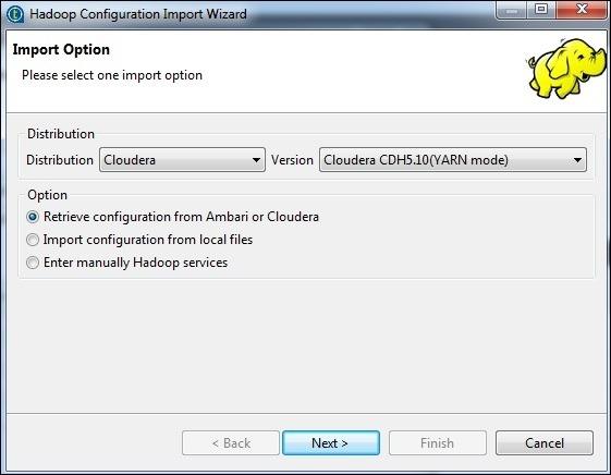 Select the retrieve configuration option and click Next.