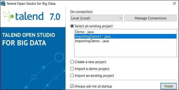 You can see your imported project under existing projects list
