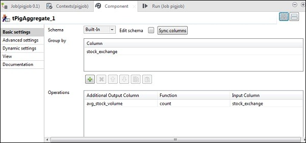 Now, put stock_exchange column in Group by option. Add avg_stock_volume column in Operations field with count Function and stock_exchange as Input Column.